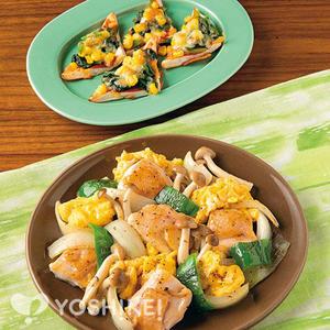 鶏肉とふんわり卵のバジル炒め