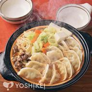 スープで簡単!えび味噌水餃子鍋