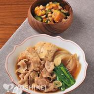 豚バラとにらのガーリック肉豆腐