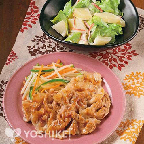 豚肉のすりおろし生姜焼き/レタス入りポテトサラダ