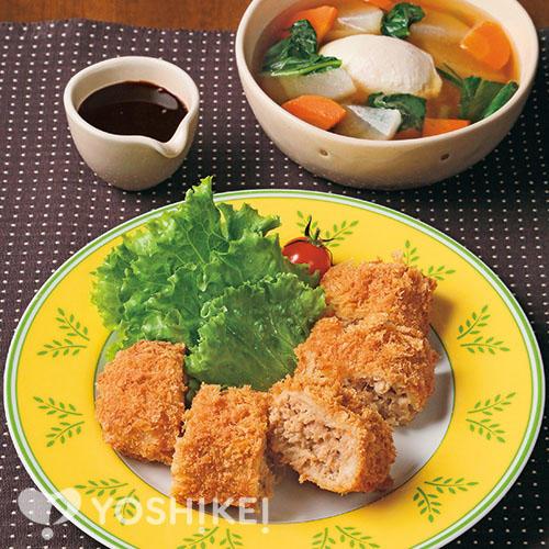 牛肉ジューシーフライ/落とし卵のコンソメスープ