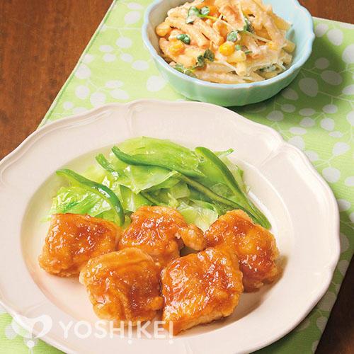 鶏肉のすりおろし生姜焼き/明太マカロニサラダ