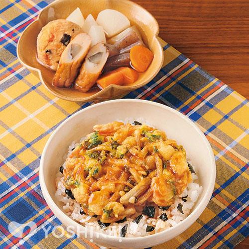 ラクラク海鮮かき揚げ丼/おでん風煮