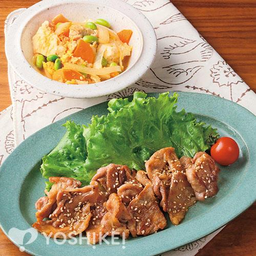 豚肉のごまごま焼き/いり豆腐