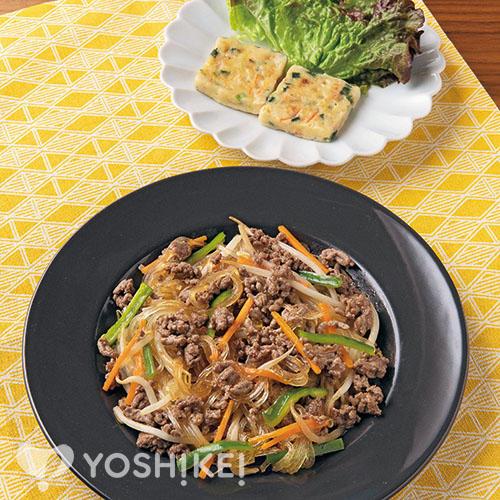 焼き肉のたれで牛ひきチャプチェ /3種の野菜チヂミ