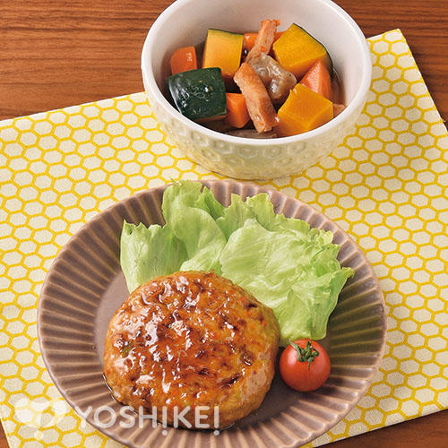豆腐野菜ハンバーグ/かぼちゃのうま煮