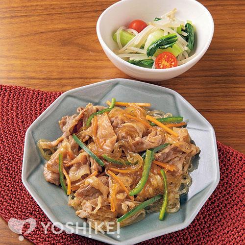 焼き肉のたれで豚肉チャプチェ/チンゲン菜の彩りナムル