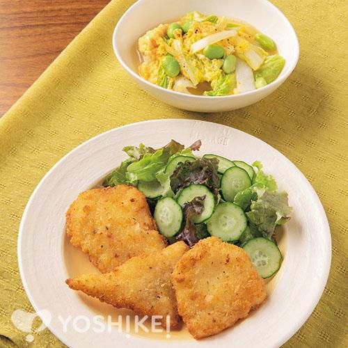 簡単!かれいのフライパン焼き~チーズ味~/野菜のかきたま煮