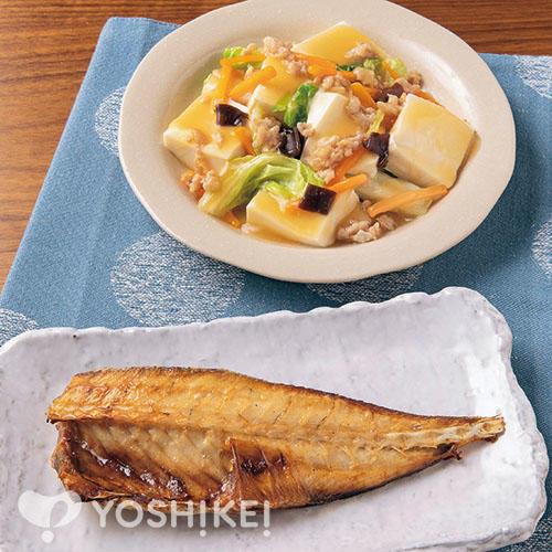 あじのゆず醤油干し/うま煮ソースで簡単!豆腐と野菜のとろみ炒め