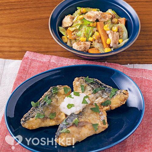骨取りさばの蒲焼き/蒸し鶏と野菜のごまあえ