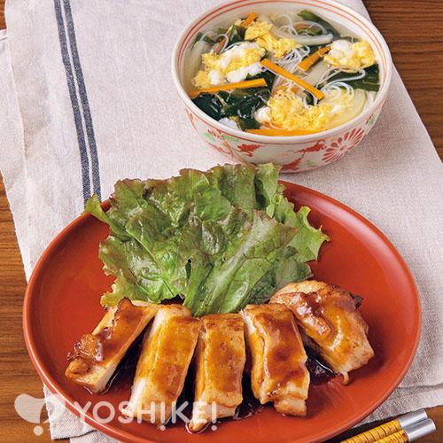 チキンステーキでつくる!揚げない油淋鶏(ユーリンチー)/かき玉ビーフンスープ