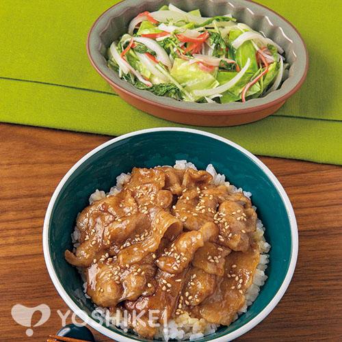 天丼のたれで簡単!豚カルビ丼/かに風味のレンジ煮浸し