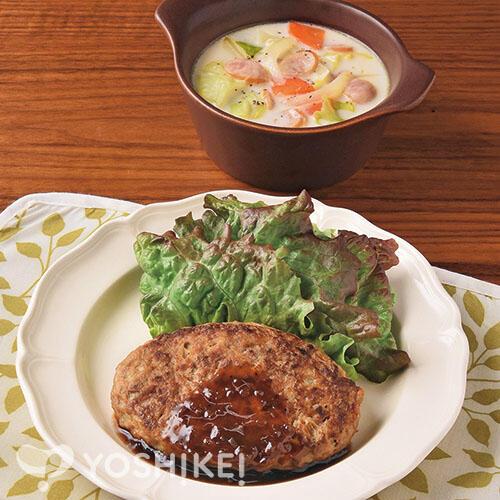 簡単!オニオンソースハンバーグ/ウインナーと野菜のミルクスープ
