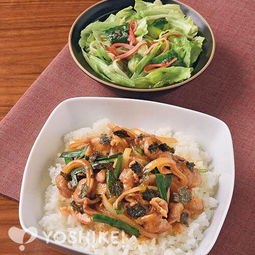 スタミナピリ辛豚丼/たたき胡瓜とレタスのナムル