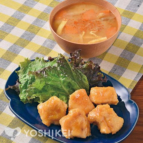 たれでラクラク!鶏肉のすりおろし生姜焼き/根菜きんぴら汁