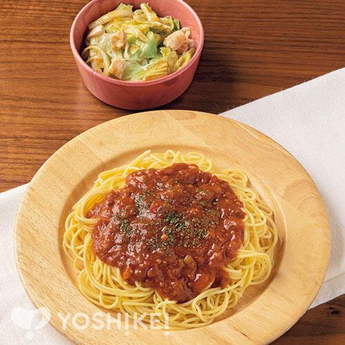 簡単!ミートソーススパゲティ/蒸し野菜のドレッシングあえ