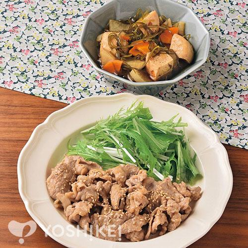 豚肉のごまみそ焼き/刻み昆布と大根の煮もの