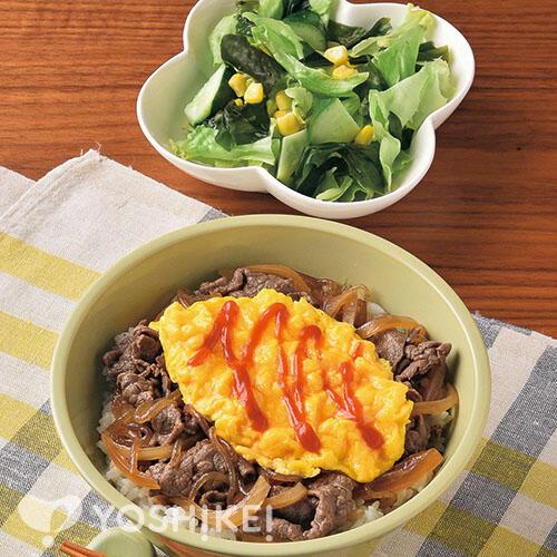 ふわたま牛丼/わかめサラダ