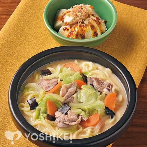 包丁いらずのお手軽ちゃんぽん/粉ラー油だれで食べるすくい豆腐の温やっこ