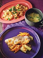 たらの葱蒸し/豚肉とカシューナッツのかき油炒め/かきたまスープ