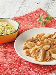 豚肉ときのこのおろしソース/チーズコールスロー