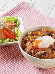 温玉牛丼/しらすの和風サラダ