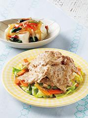 豚肉と春キャベツのごまソース/豆腐のかに風味あん