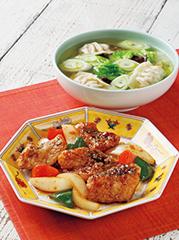 白身魚のかき油炒め/水餃子スープ
