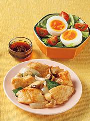 チキンのコンソメガーリック炒め/とろ~り!半熟卵のサラダ