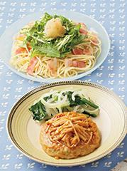 香ばししょうゆの豆腐ハンバーグ/カリカリベーコンの和風おろしスパゲティ