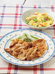 豚肉のカレー生姜焼き/野菜のかきたま煮