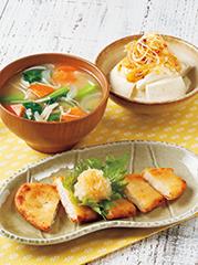 カジキマグロ香味揚げ/具だくさんえのき汁/すくい豆腐のねぎラー油