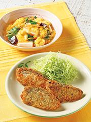 ぶりののり塩ガーリックフライ/豆腐のふんわり卵とじ