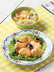 チキンとなすのマリネ風/ウインナーと野菜のスープ