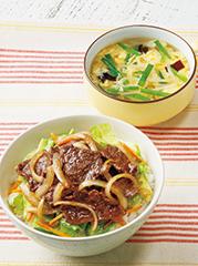 焼き牛丼/かき玉野菜スープ