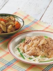 豚肉のにんにくポン酢焼き/刻み昆布と大根の煮もの