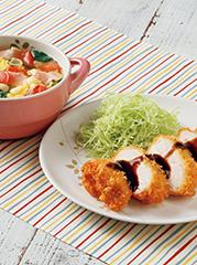 チキンカツ/ベーコンとトマトのかき玉スープ