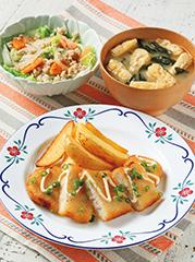カジキマグロ香味揚げ/ひき肉と野菜のレンジ蒸し/みそ汁