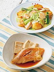 あかうおの炊き合わせ/鶏肉と野菜のバタぽん炒め