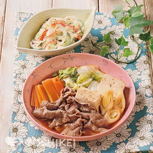 牛肉豆腐/シャキシャキれんこんサラダ