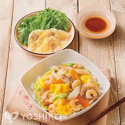 ふわふわ卵入り中華丼/つるりんワンタン