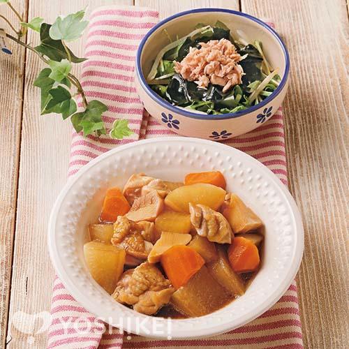 鶏肉と大根のうま煮/ツナのポン酢あえ