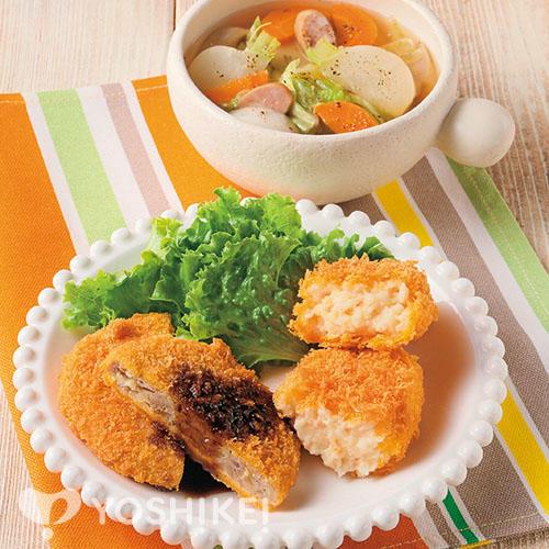 クリームコロッケ&メンチカツ/冬野菜のコンソメスープ