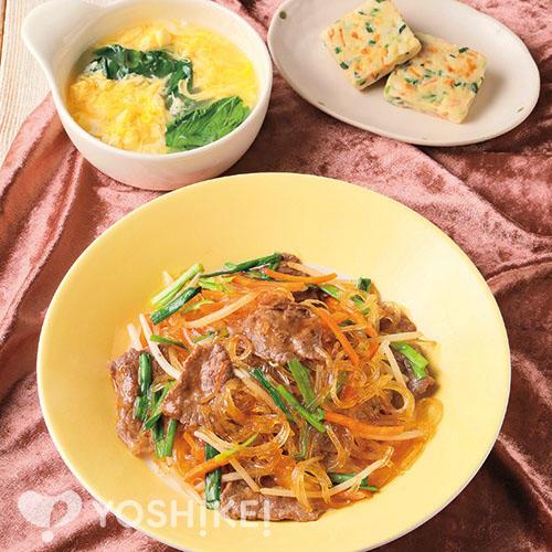 焼き肉のたれで簡単!牛肉チャプチェ/3種の野菜チヂミ/たまごスープ