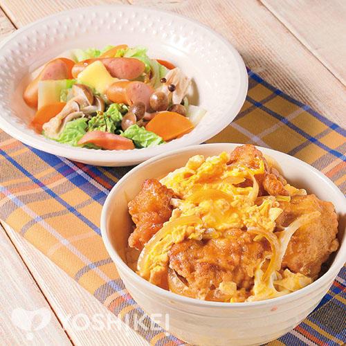 レンジから揚げのさっぱり親子丼/ウインナーと野菜のレンジ蒸し