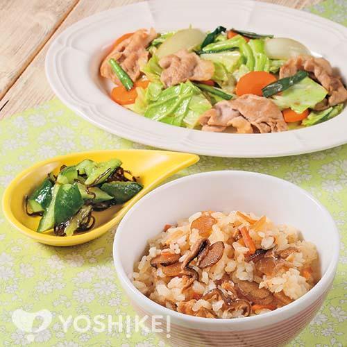 鶏五目ご飯/豚肉とキャベツのかき油炒め/胡瓜の昆布もみ