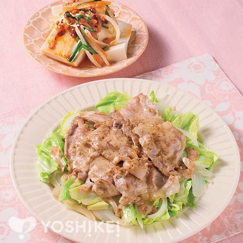 豚肉と春キャベツのごまソース/ピリ辛ナムルのせ冷やっこ