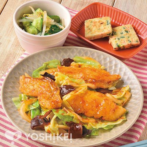 骨取りたらのXO醤炒め/3種の野菜チヂミ/もやしのナムル