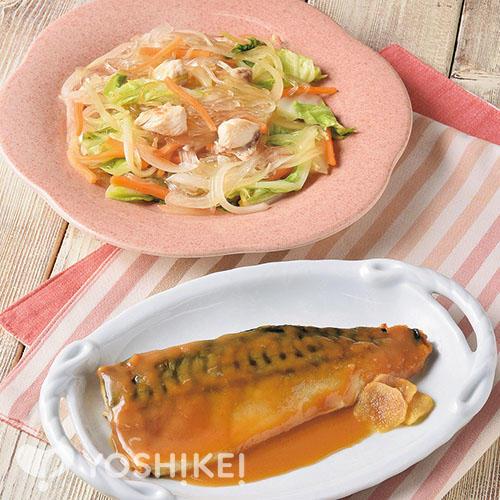 レンジで簡単!さばのみそ煮/鶏と野菜のうま塩春雨炒め