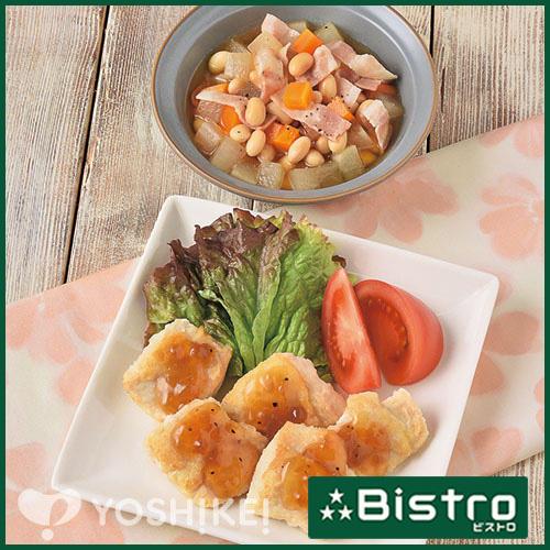 チキンソテーオニオンソース(ビストロ)/ベーコンとお豆の洋風煮